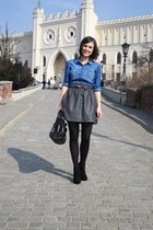 blue Stradivarius shirt - gray H&M skirt