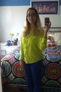 Blue-colored-jeans-delias-jeans-green-arizona-shirt