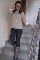 white dress Stradivarius shirt - beige Mango sweater