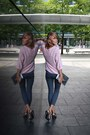 Charcoal-gray-second-hand-pants-light-pink-second-hand-sweater