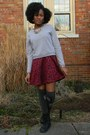 Black-born-boots-maroon-thrifted-dress-heather-gray-sweatshirt