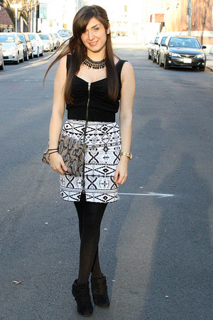 Dolce Vita dress - Bakers boots - H&amp;M tights - Old Navy bag - Forever21 necklace