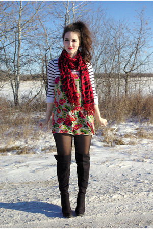 joe shirt - le chateau scarf - le chateau boots
