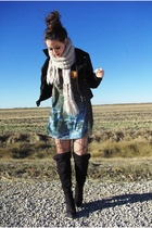 Urban Outfitters jacket - H&M dress - Urban Outfitters tights - le chateau boots