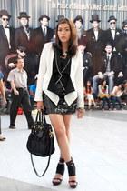 white Forever 21 blazer - black Prada bag - black Forever 21 vest
