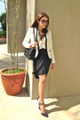 White-zara-blazer-black-chanel-bag-black-ysl-sunglasses