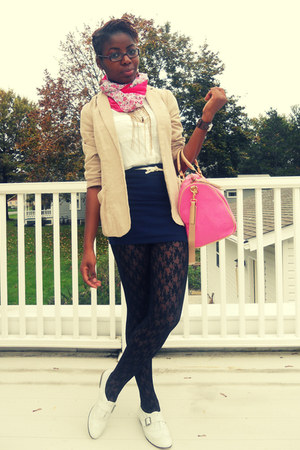 black H&M tights - white Steve Madden shoes - beige blazer