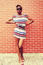 striped H&M dress - black sunglasses - Carlos Santana flats