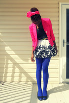 hot pink Chaps blazer - blue Forever 21 tights - white Forever 21 skirt