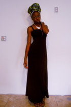 black maxi H&M dress - navy headwrap African scarf - silver Forever 21 necklace