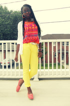 light yellow Forever 21 pants - white Gap cardigan - coral tank top
