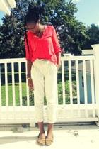 coral neon Old Navy blouse - beige paperbag waist Macys pants