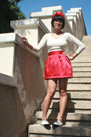 red Forever 21 skirt - red bangkok hat - white thrifted dress - white Shanghai s
