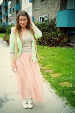 chartreuse H&M cardigan - beige H&M vest