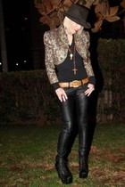 vintage jacket - American Apparel shirt - f21 pants - Jeffrey Campbell boots