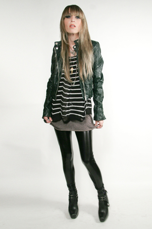 green Zara jacket - black Target sweater - black Express leggings - black sam ed