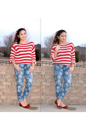 floral LC pants - stripes Forever 21 jumper - red Enzo Angiolini flats