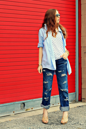 button down shirt - polka dots shirt - jeans