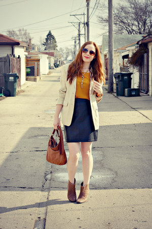 leather skirt - boots - blazer - bag