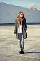 olive-green coat - gray jeans - white top
