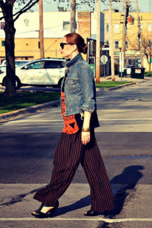 tribal shirt - heels - striped pants