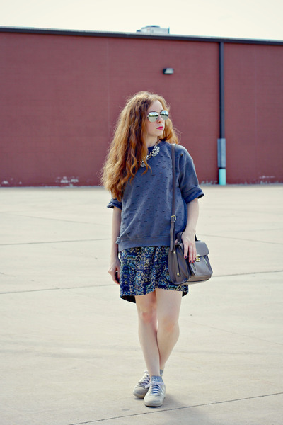 diy sweatshirt - printed wrap skirt - adidas sneakers
