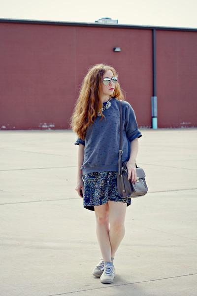 diy sweatshirt - printed wrap skirt - adidas sneakers