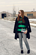 black coat - gray jeans - striped sweater