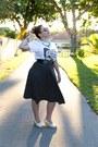 White-graphic-tee-shirt-black-jersey-knit-skirt