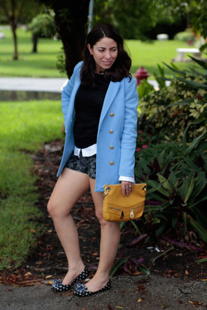 H&M jacket - Michael Kors bag - brocade shorts Guess shorts