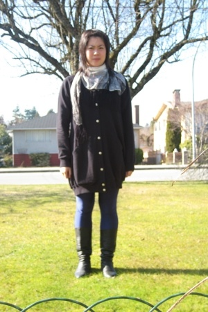 Wood Wood sweater - aa leggings - vintage boots - H&M scarf
