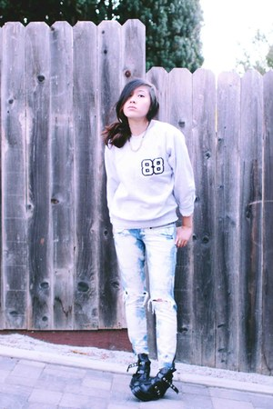 asos sweater - cut out boots - destroyed denim Bebe jeans - Nordstrom necklace