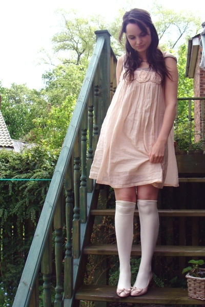white asos socks - pink bow vintage shoes - pink rose Ruche dress
