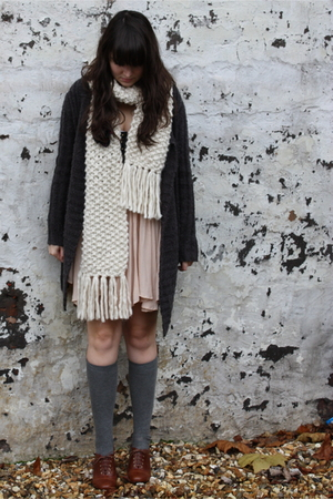 Topshop dress - vintage sweater - Topshop scarf - socks - H&M shoes