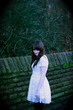 white Topshop dress - black Primark leggings - black Topshop boots - black Urban