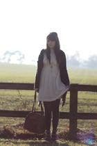 white Topshop dress - gray vintage cardigan - brown Topshop shoes - brown vintag