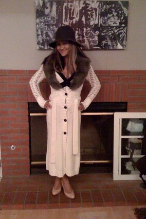 green vintage hat - white Victorias Secret coat - pink BCBG shoes