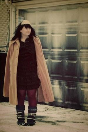 black ruffles Target dress - crimson HUE tights - camel thrifted vintage cape