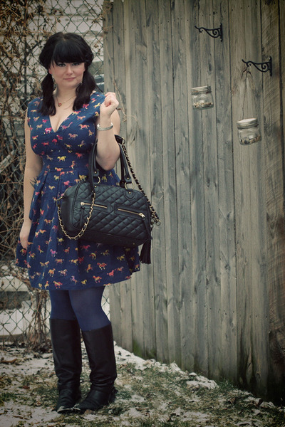 black theIT bag - black vintage boots - navy sugarhill boutique dress