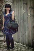 black theIT bag - black vintage boots - navy sugarhill boutique dress