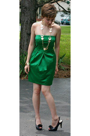 green macys Jump Girl dress - black DSW shoes - gold Icing earrings