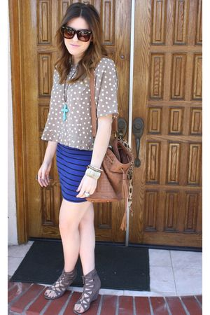 vintage blouse - f21 skirt - Deena & Ozzy shoes - Aldo purse