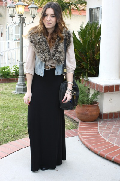 faux fur collar foreign exchange scarf - asos bag - H&M skirt - H&M blouse - Nor