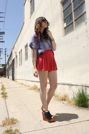 Jeffrey Campbell wedges - Forever 21 shorts - Buffalo Exchange LB blouse