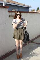 H&M blouse - Metropark skirt - Jeffrey Campbell shoes - f21 purse - Gucci sungla