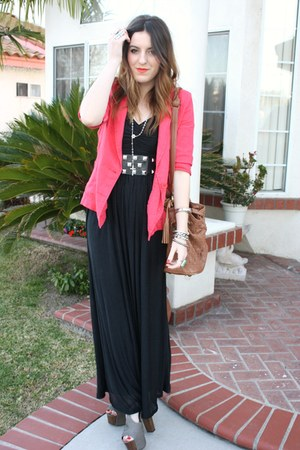 f21 blazer - H&M dress - f21 belt - Jessica Simpson heels