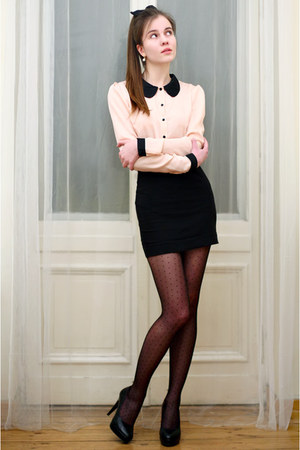 light pink SAMOA shirt - black dot tights - black Embis heels - black H&amp;M skirt
