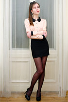 light pink SAMOA shirt - black dot tights - black Embis heels - black H&M skirt