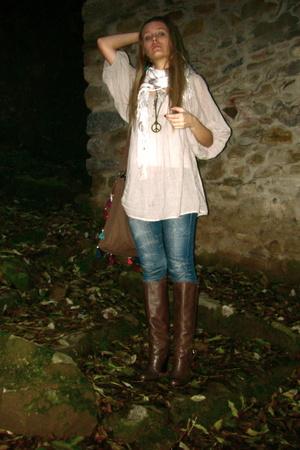 Zara blouse - H&M scarf - Zara accessories - Zara shoes - Fornarina jeans - BSK