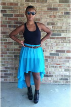 light blue Mosquito skirt - black Jeffrey Campbell boots - black Forever 21 top